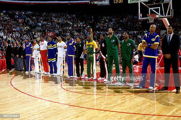 The Western Conference All Stars stand prior to the 1988 NBA AllStar Game on February 7 1988 at the Chicago Stadium Chicago Illinois NOTE TO USER...