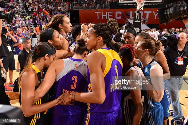 The Western Conference AllStars huddle during the 2014 Boost Mobile WNBA AllStar Game on July 19 2014 at US Airways Center in Phoenix Arizona NOTE TO...