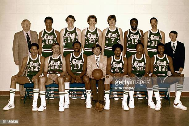 The Western Conference AllStars pose for a team photo front row Billy Knight Bob Lanier Rick Barry Head Coach Larry Brown Dan Issel Maurice Lucas...
