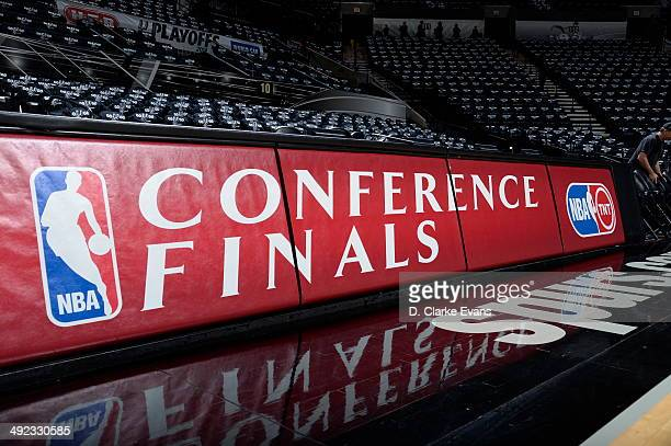 The Western Conference Finals logo is shown before Game One of the Western Conference Finals between the San Antonio Spurs and the Oklahoma City...