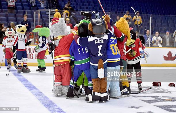 The western conference mascots celebrate after competing in the Mascot Game 2016 before the 2016 Honda NHL AllStar Skill Competition as part of the...