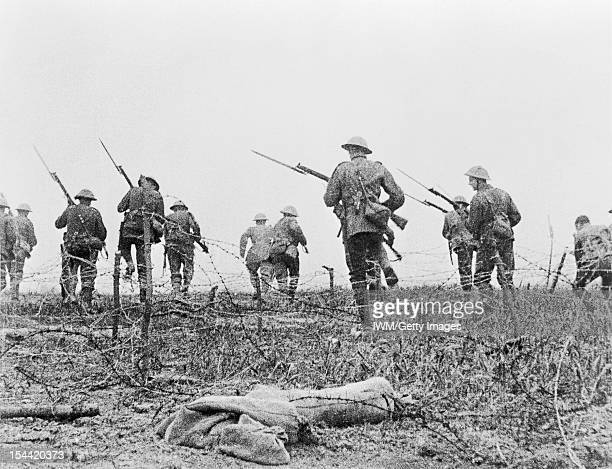 The Western Front During The First World War The Battle Of The Somme Still from the film 'Battle of the Somme' British troops go forward in 'No Man's...