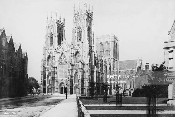 The western front of York Minster in North Yorkshire circa 1900 From sepia