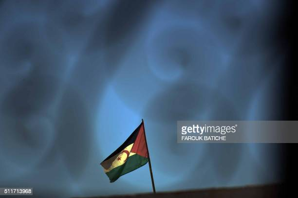 The Western Sahara flag is seen at at the Smara refugee camp in Algeria's Tindouf province home to some several thousands Sahawari refugees ahead of...