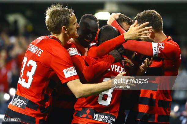 The Western Sydney Wanderers celebrate a goal during the FFA Cup round of 32 match between the Western Sydney Wanderers and the Wellington Phoenix at...