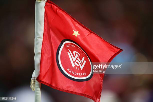 The Western Sydney Wanderers corner flag is seen flying during the round 21 ALeague match between the Western Sydney Wanderers and the Perth Glory at...