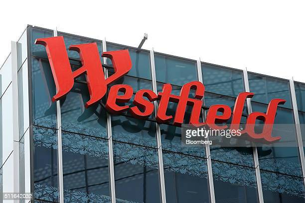 The Westfield Corp logo is displayed outside the Westfield Sydney shopping center operated by Scentre Group in Sydney Australia on Friday Feb 19 2016...