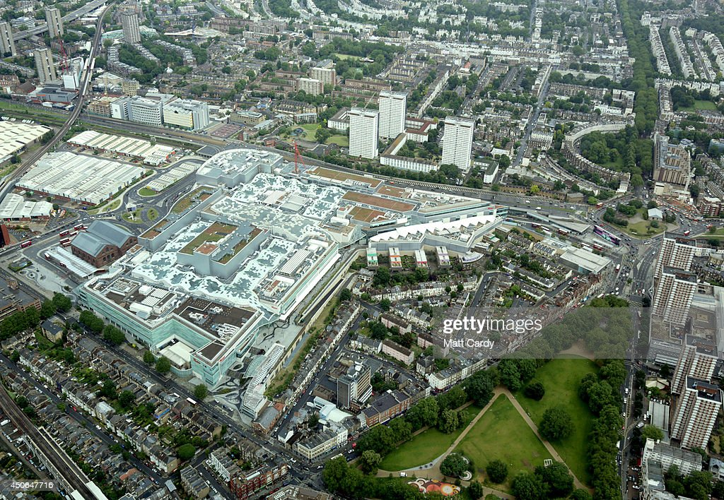 The Westfield London Shopping Centre is seen beside Shepherd's Bush Green from the air on June 14, 2014 in London, England.