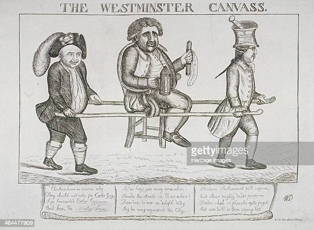 'The Westminster canvass' 1784 Charles James Fox as Guy Fawkes being carried in a chair by his supporters Edward Hall and Sam House In his right hand...