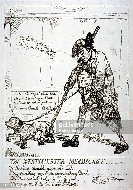 'The Westminster mendicant' 1784 A blind beggar Sir Cecil Wray being led by his dog This satire is a reference to Wray's lack of success in...
