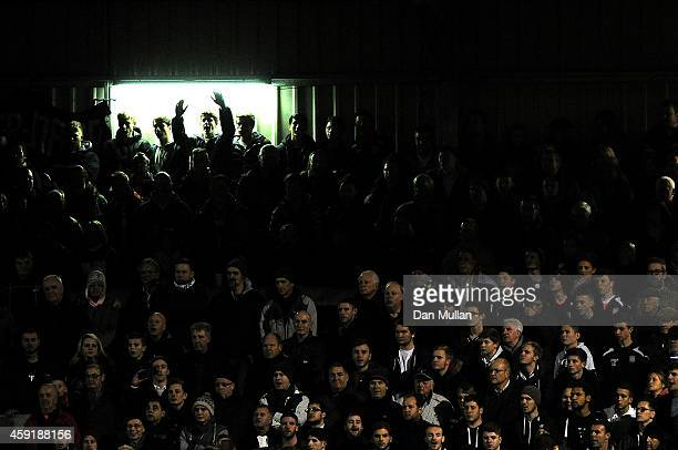 The WestonSuperMare fans look on during the FA Cup First Round match between WestonSuperMare and Doncaster Rovers on November 18 2014 in...