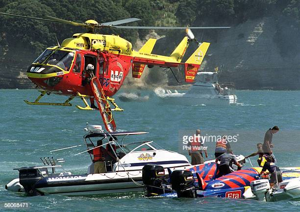 The Westpac rescue chopper lowers a stretcher down to the ETA Ripples boat driven by New Zealanders Richard Shores and Richard Cain during the class...