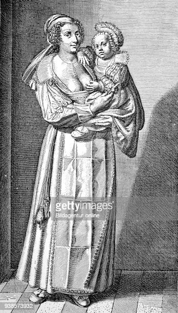 The wet nurse woman with full breasts carries child in her arm copper engraving Crispin de Passe 17th century publication from the year 1882