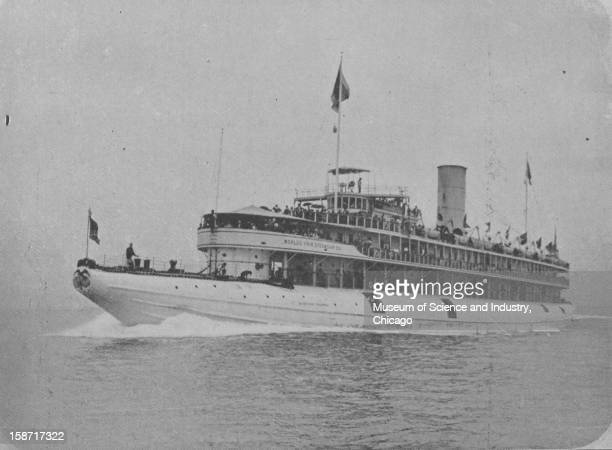 The Whaleback Steamer Columbus enroute to the fair at the World's Columbian Exposition in Chicago Illinois 1893 This image was published in...