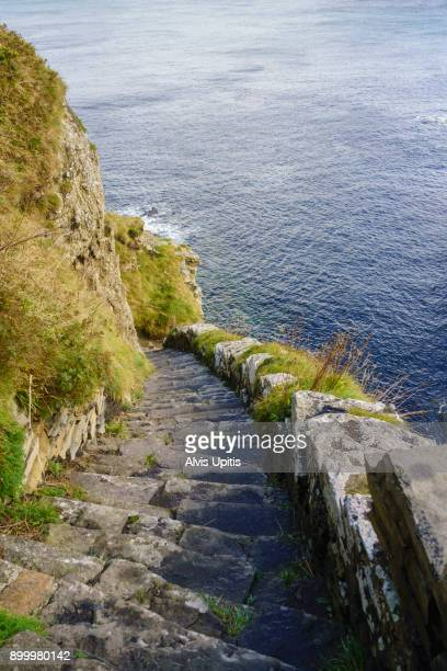 The Whaligoe Steps lead down to a small harbor near Ulbster known for herring boats