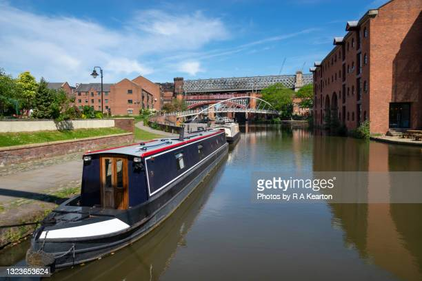 the wharf, castlefield basin, manchester, england - nautical vessel stock pictures, royalty-free photos & images