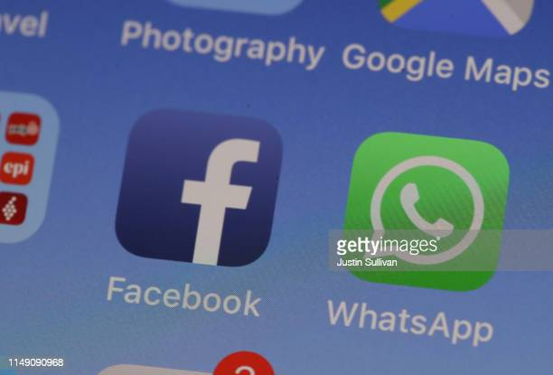 The WhatsApp messaging app is displayed on an Apple iPhone on May 14, 2019 in San Anselmo, California. Facebook owned messaging app WhatsApp...