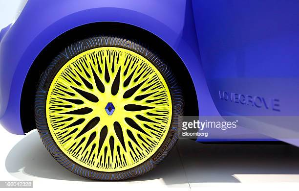 The wheel hub bearing the Renault logo is seen on the Renault Twin'Z concept automobile designed by British designer Ross Lovgrove for the French car...