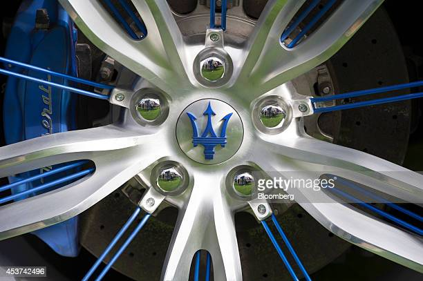 The wheel of a Maserati SpA Alfieri is displayed during the 2014 Pebble Beach Concours d'Elegance in Pebble Beach California US on Saturday Aug 16...