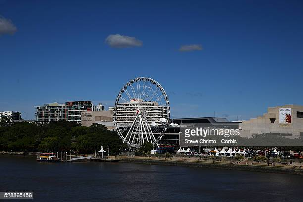 The Wheel of Brisbane is a Bussink R60 transportable Ferris wheel installation It is 'almost' 60 metres in hight Brisbane Australia Monday 5th May...