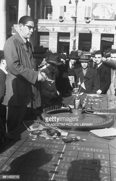 The wheel of fortune roulette in the street March 3 Genoa Italy 20th century