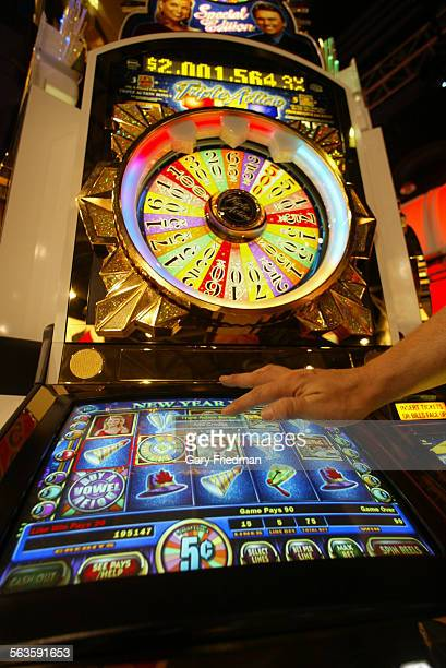 The 'Wheel of Fortune' slot machine at the Global Gaming Expo trade show at the Las Vegas Convention Center where new slot machines were unveiled...