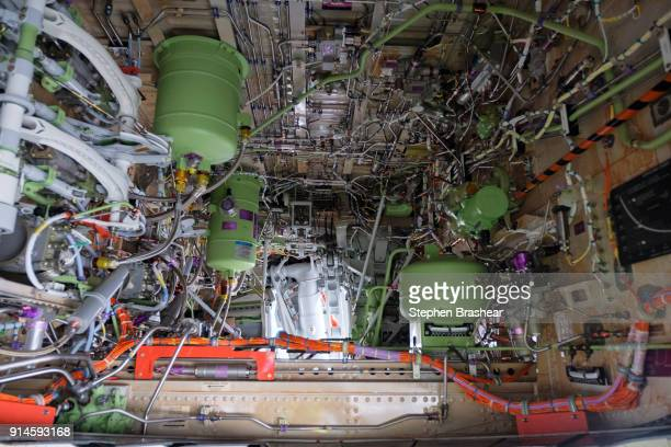 The wheel well of the first Boeing 737 MAX 7 aircraft as it sits on the tarmac outside of the Boeing factory on February 5 2018 in Renton Washington...