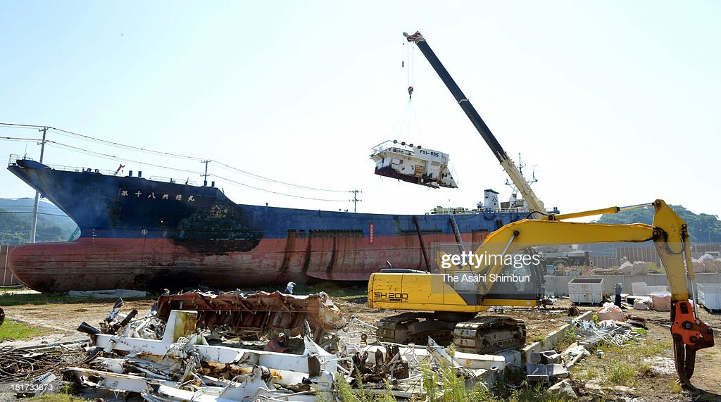 The wheelhouse is removed from the Dai 18 Kyotoku Maru, 330-ton fishing boat washed away 750 meters inland by the towering tsunami after the magnitude 9.0 earthquake in 2011, on September 20, 2013 in Kesennuma, Miyagi, Japan. The unusual sight of the fishing boat became a symbol across the world of the power and devastation of the Great East Japan Earthquake.