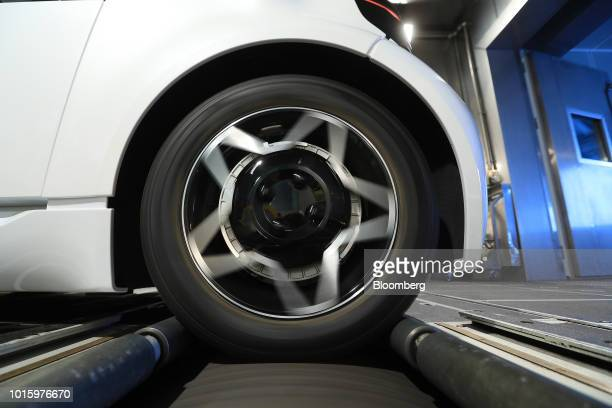 The wheels of a Schaeffler Mover electric autonomous vehicle spin during chassis dynamometer testing in the Schaeffler AG factory in Herzogenaurach...