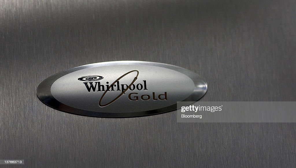 The Whirlpool Corp. logo is displayed on a refrigerator at a Sears Holdings Corp. store in Jersey City, New Jersey, U.S., on Tuesday, Jan. 24, 2012. The U.S Census Bureau is scheduled to release durable goods data on Jan. 26. Photographer: Victor J. Blue/Bloomberg via Getty Images