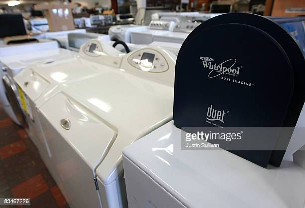 The Whirlpool logo is seen on a display of clothes washers and dryers October 28, 2008 in San Francisco, California. Home appliance manufacturer...