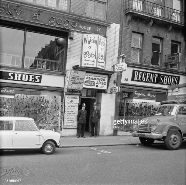 The Whisky A Gogo nightclub and the Flamingo Jazz Club at 37 Wardour Street in London's Soho district after Lionel William 'Curly' King was stabbed...