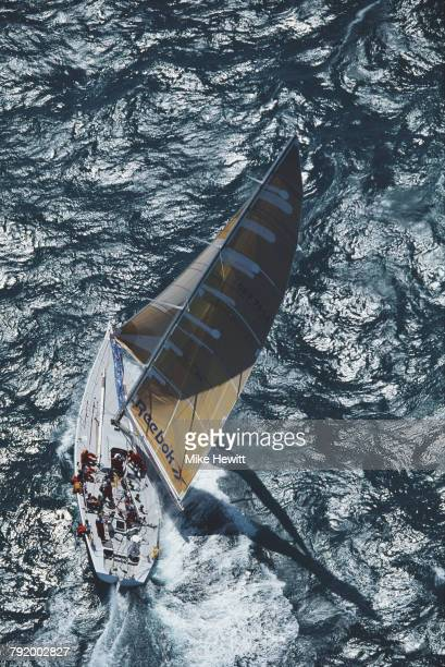 The Whitbread 60 class yacht Reebok/Dolphin Youth sails through the Pacific Ocean during the Whitbread Round the World Yacht Race on 8 January 1994...