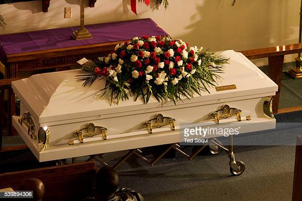 The white casket with gold trim for Stanley 'Tookie' Williams Funeral services for Stanley 'Tookie' Williams at Bethel AME Church in South Central...