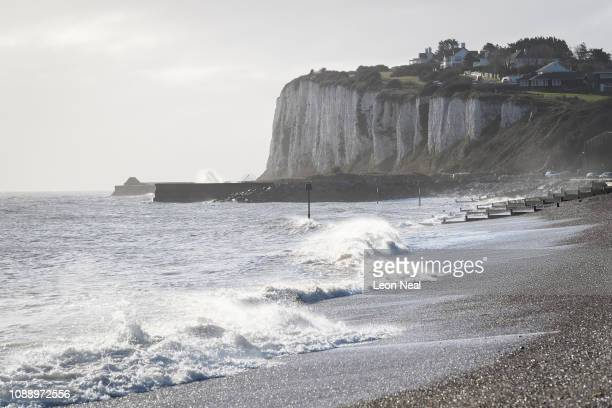 The white cliffs are seen in a general view of the coast on January 02 three days after a boat carrying six men landed in Kingsdown England Following...