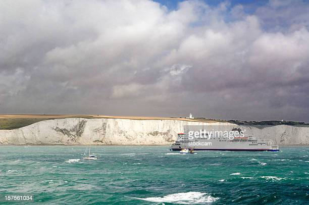 the white cliffs of dover in kent england - ferry stock photos and pictures