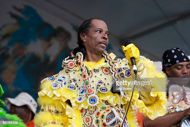 The White Cloud Hunters Mardi Gras Indians perform during day 6 of the 41st annual New Orleans Jazz Heritage Festival at the Fair Grounds Race Course...