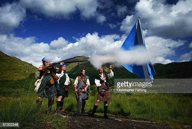The White Cockade Society reenact the return of Bonnie Prince Charlie during the Glenfinnan Highland Games August 21 Glenfinnan Scotland The...