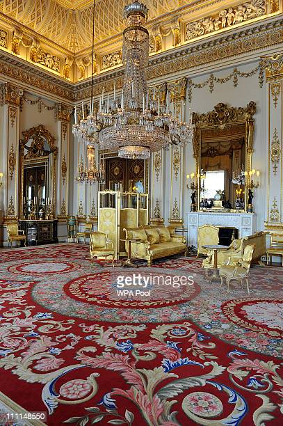 The White Drawing Room which will be used during the wedding reception of Prince William and Kate Middleton at Buckingham Palace on March 25 2011 in...