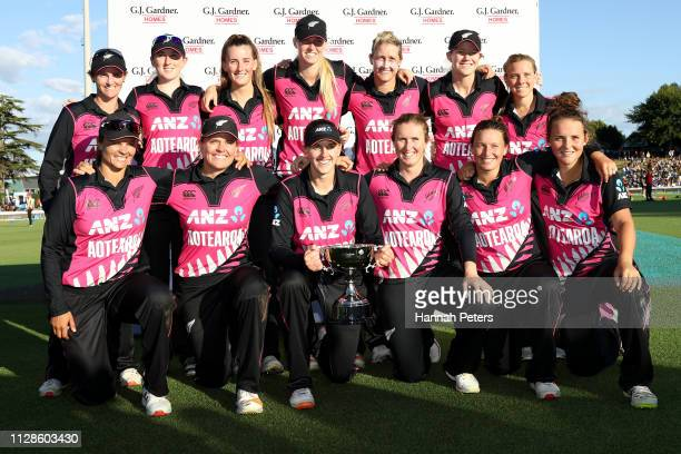 The White Ferns celebrate after winning the Women's International T20 Game 3 between New Zealand and India at Seddon Park on February 10 2019 in...