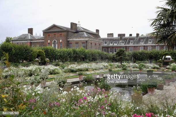 The 'White Garden' at Kensington Palace, created in memory of Princess Diana on August 30, 2017 in London, England. Princess Diana died on August...