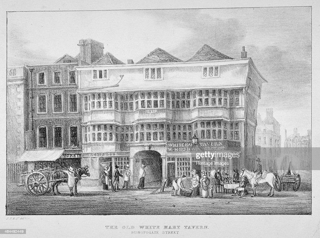 The White Hart Inn, Bishopsgate, City of London, 1825. Artist: Anon : News Photo