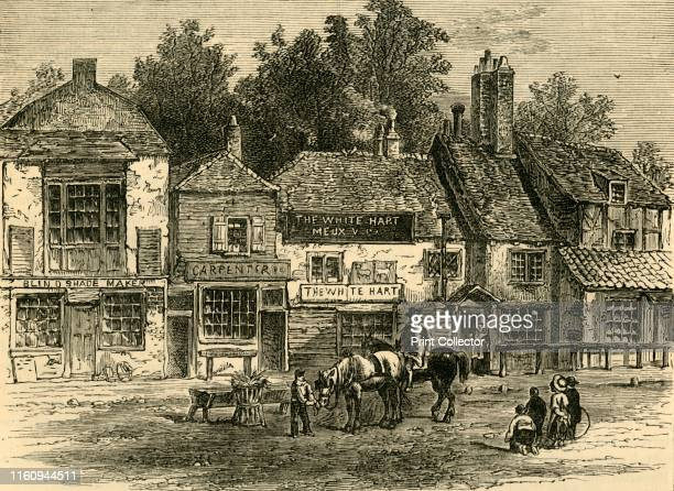 """The """"White Hart"""", Knightsbridge, 1820', . From """"Old and New London: A Narrative of Its History, Its People, and Its Places. The Western and Northern..."""