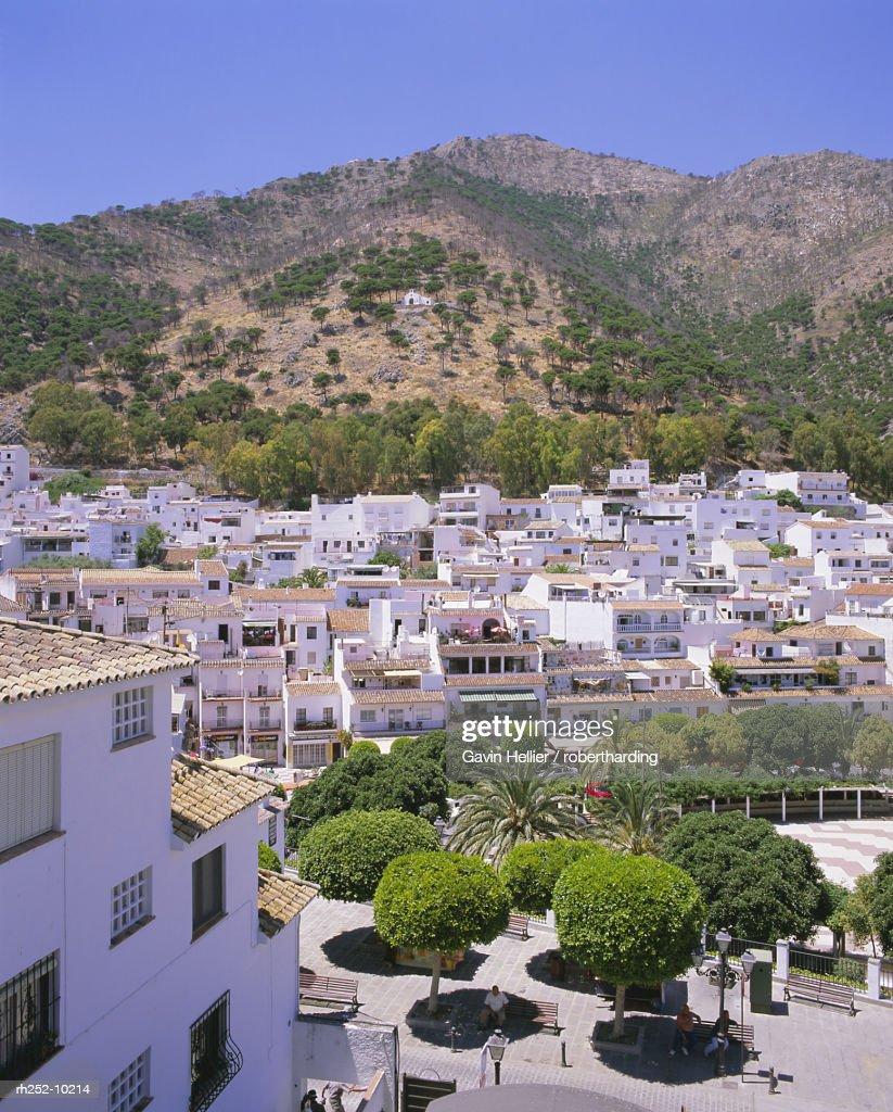 The white hill village of Mijas, Costa del Sol, Andalucia Andalusia, Spain, Europe : Foto de stock