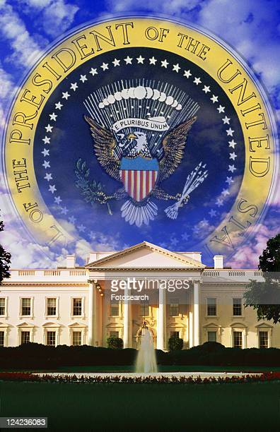 the white house and seal of the president - us president stock-fotos und bilder