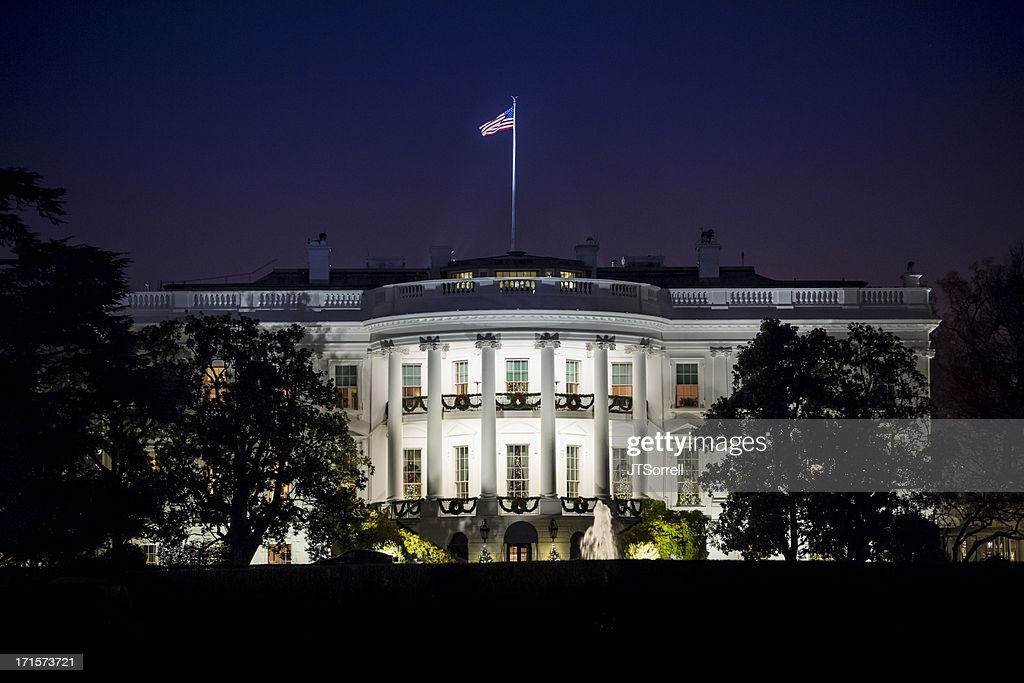 The White House at Night : Stock Photo