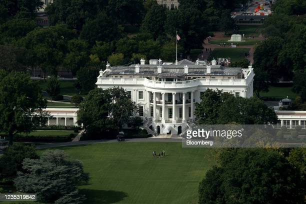 The White House in Washington, D.C., U.S., on Friday, Sept. 17, 2021. President Biden's economic agenda risks getting delayed by weeks or months in...