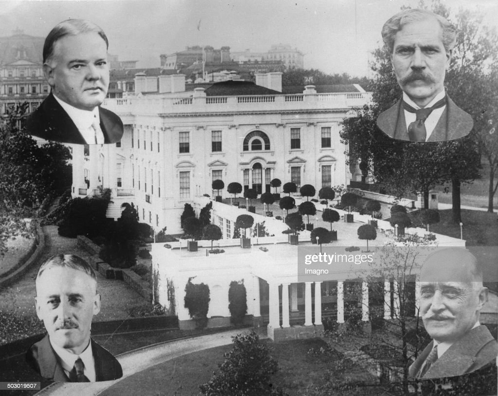 The White House in Washington with portraits of President Herbert Hoover (top left) and Prime Minister Ramsay MacDonald (top right) and Secretary of State Henry Lewis Stimson and the British ambassador to the U.S. Esmé Howard. 1929. Photograph.