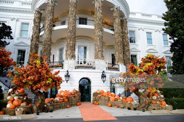 The White House is decked out with Autumn colors and pumpkins for President Donald Trump and First Lady Melania Trump to welcome trickortreaters to...