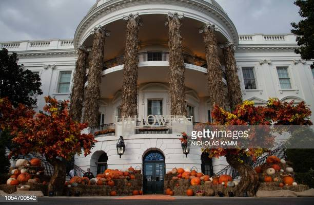 The White House is decorated for Halloween in Washington DC on October 28 2018